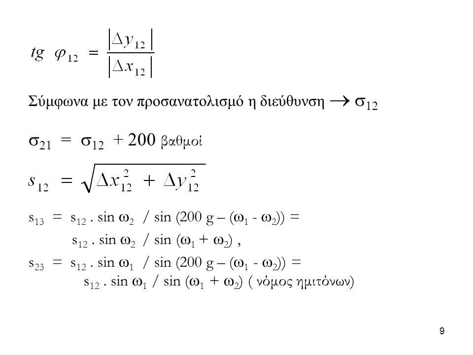 Σύμφωνα με τον προσανατολισμό η διεύθυνση   12  21 =  12 + 200 βαθμοί s 13 = s 12. sin  2 / sin (200 g – (  1 -  2 )) = s 12. sin  2 / sin ( 