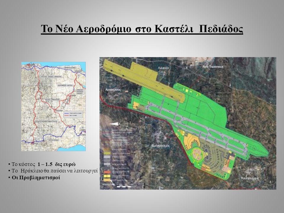 Το Νέο Αεροδρόμιο στο Καστέλι Πεδιάδος • Το κόστος 1 – 1.5 δις ευρώ • Tο Ηράκλειο θα παύσει να λειτουργεί • Οι Προβληματισμοί