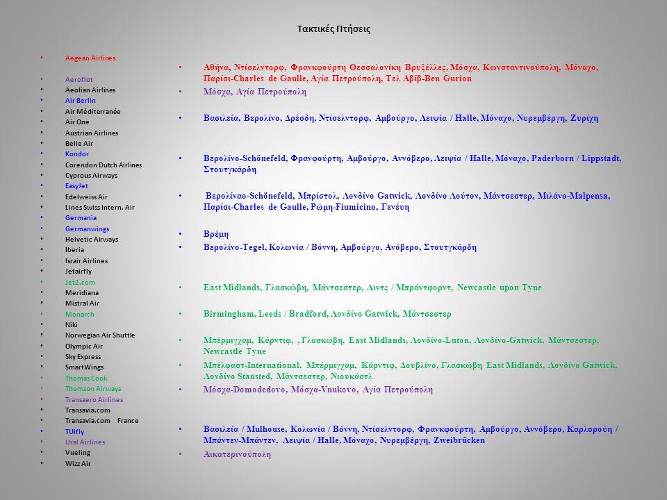Charter Πτησεις • Adria Airways • Aeroflot • Aegean Airlines • airBaltic • Air Bucharest • Air Italy • AlbaStar • Alitalia • Arkia Israel Airlines • Austrian Airlines • Bingo Airways • BlueBird Airways • Blue Panorama Airlines • Bulgaria Air • Carpatair • Enter Air • Europe Airpost • Finnair • Germania • Hamburg Airways • Holidays Czech Airlines • Israir Airlines • Jat Airways • Jetairfly • Livingston • Charters LOT • Meridiana fly • Neos • NordStar • Nordwind Airlines • NOVAIR • Orbest Orizonia Airlines • Orenair • Polet Airlines • Samair • Small Planet Airlines • SmartLynx Airlines • SprintAir • Sun d Or • TAROM • Trawel Fly • Travel Service • TUIfly Nordic • Ukraine Int.