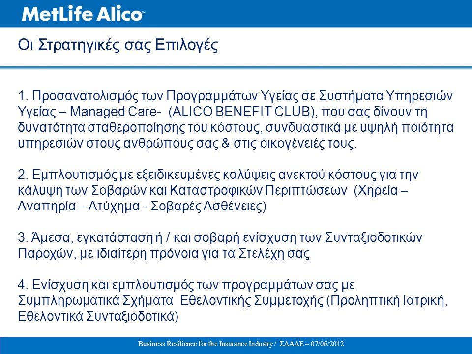 1. Προσανατολισμός των Προγραμμάτων Υγείας σε Συστήματα Υπηρεσιών Υγείας – Managed Care- (ALICO BENEFIT CLUB), πoυ σας δίνουν τη δυνατότητα σταθεροποί