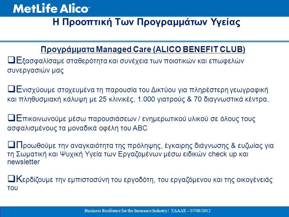 ΟΜΑΔΙΚΗ ΑΣΦΑΛΙΣΗ ΠΡΟΣΩΠΙΚΟΥ / 07-06-2012 H Προοπτική Των Προγραμμάτων Υγείας Προγράμματα Managed Care (ALICO BENEFIT CLUB)  Ε ξασφαλίσαμε σταθερότητα