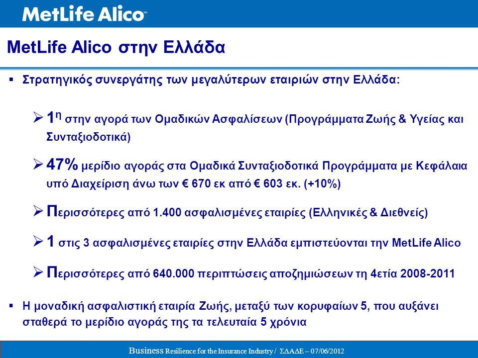  Στρατηγικός συνεργάτης των μεγαλύτερων εταιριών στην Ελλάδα:  1 η στην αγορά των Ομαδικών Ασφαλίσεων (Προγράμματα Ζωής & Υγείας και Συνταξιοδοτικά)