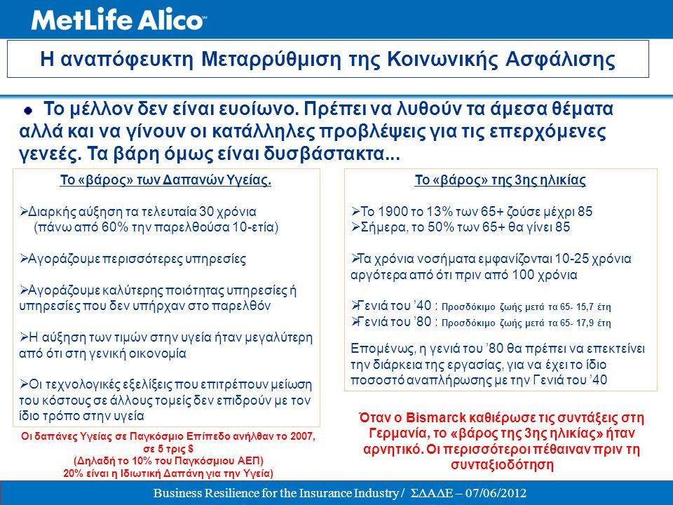  Στρατηγικός συνεργάτης των μεγαλύτερων εταιριών στην Ελλάδα:  1 η στην αγορά των Ομαδικών Ασφαλίσεων (Προγράμματα Ζωής & Υγείας και Συνταξιοδοτικά)  47% μερίδιο αγοράς στα Ομαδικά Συνταξιοδοτικά Προγράμματα με Κεφάλαια υπό Διαχείριση άνω των € 670 εκ από € 603 εκ.