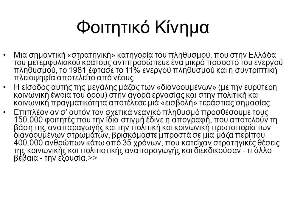 Φοιτητικό Κίνημα •Μια σηµαντική «στρατηγική» κατηγορία του πληθυσμού, που στην Ελλάδα του µετεµφυλιακού κράτους αντιπροσώπευε ένα µικρό ποσοστό του εν