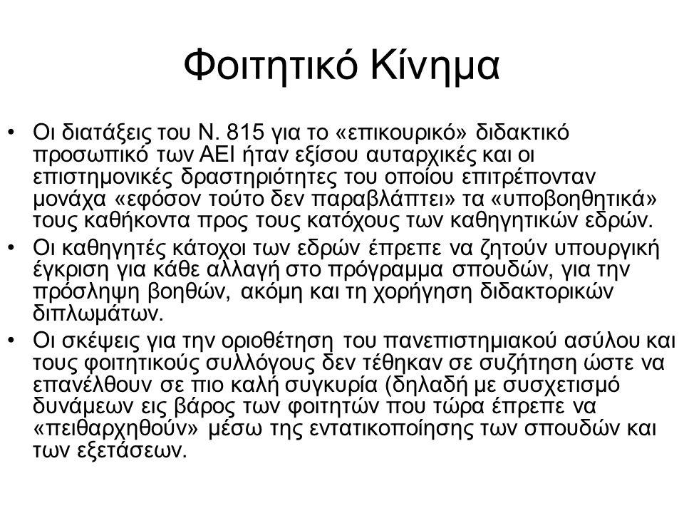 Φοιτητικό Κίνημα •Οι διατάξεις του Ν. 815 για το «επικουρικό» διδακτικό προσωπικό των ΑΕΙ ήταν εξίσου αυταρχικές και οι επιστημονικές δραστηριότητες τ