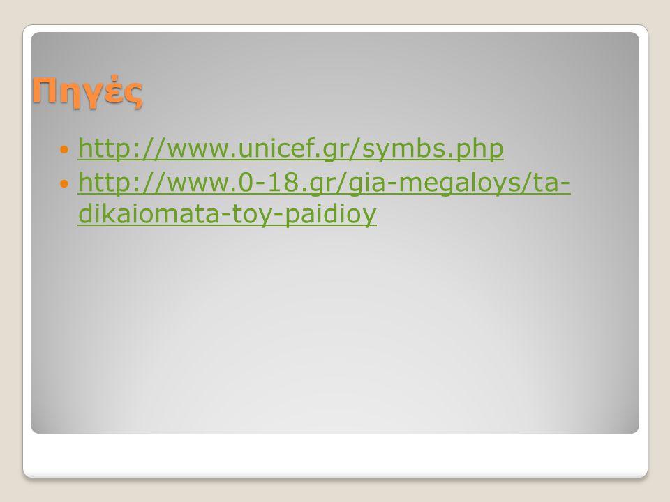Πηγές  http://www.unicef.gr/symbs.php http://www.unicef.gr/symbs.php  http://www.0-18.gr/gia-megaloys/ta- dikaiomata-toy-paidioy http://www.0-18.gr/