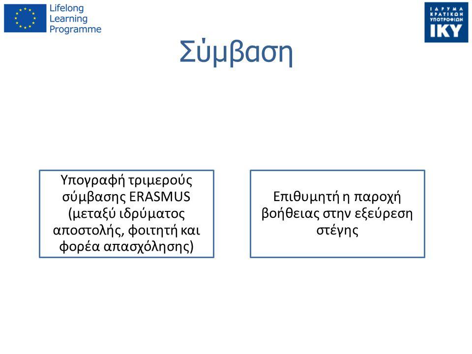 Σύμβαση Υπογραφή τριμερούς σύμβασης ERASMUS (μεταξύ ιδρύματος αποστολής, φοιτητή και φορέα απασχόλησης) Επιθυμητή η παροχή βοήθειας στην εξεύρεση στέγ