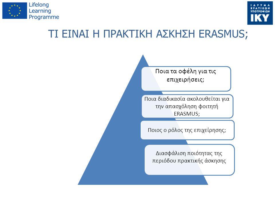 ΤΙ ΕΙΝΑΙ Η ΠΡΑΚΤΙΚΗ ΑΣΚΗΣΗ ERASMUS; Ποια τα οφέλη για τις επιχειρήσεις; Ποια διαδικασία ακολουθείται για την απασχόληση φοιτητή ERASMUS; Ποιος ο ρόλος