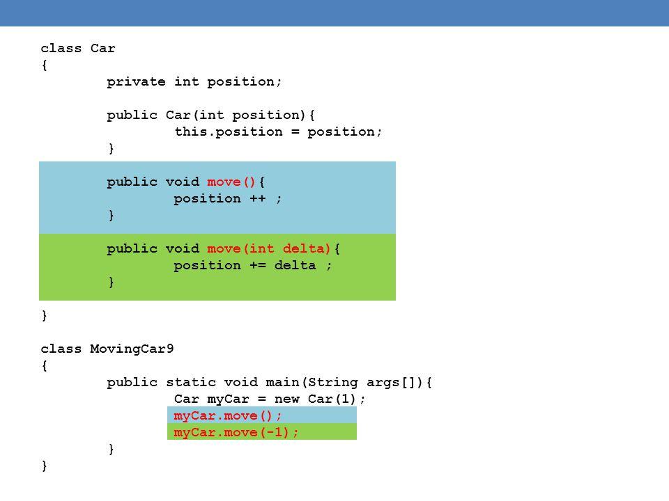 class Car { private int position; public Car(int position){ this.position = position; } public void move(){ position ++ ; } public void move(int delta