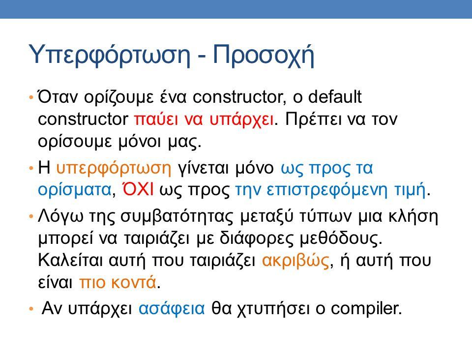 Υπερφόρτωση - Προσοχή • Όταν ορίζουμε ένα constructor, o default constructor παύει να υπάρχει. Πρέπει να τον ορίσουμε μόνοι μας. • Η υπερφόρτωση γίνετ