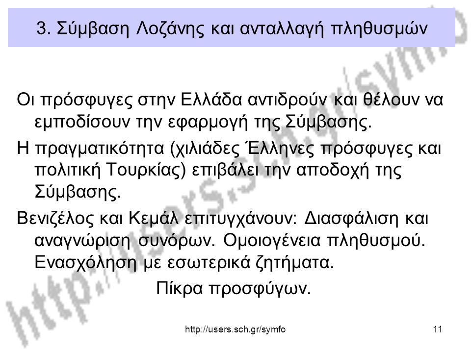 http://users.sch.gr/symfo11 3. Σύμβαση Λοζάνης και ανταλλαγή πληθυσμών Οι πρόσφυγες στην Ελλάδα αντιδρούν και θέλουν να εμποδίσουν την εφαρμογή της Σύ