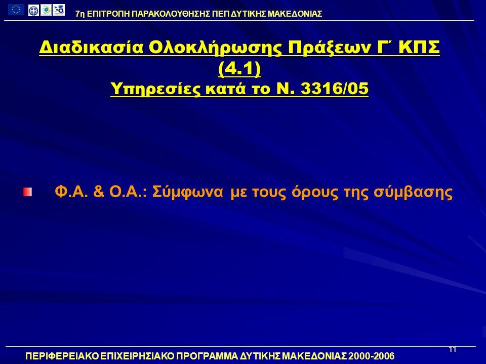 11 Διαδικασία Ολοκλήρωσης Πράξεων Γ΄ ΚΠΣ (4.1) Υπηρεσίες κατά το Ν. 3316/05 Φ.Α. & Ο.Α.: Σύμφωνα με τους όρους της σύμβασης 7η ΕΠΙΤΡΟΠΗ ΠΑΡΑΚΟΛΟΥΘΗΣΗΣ