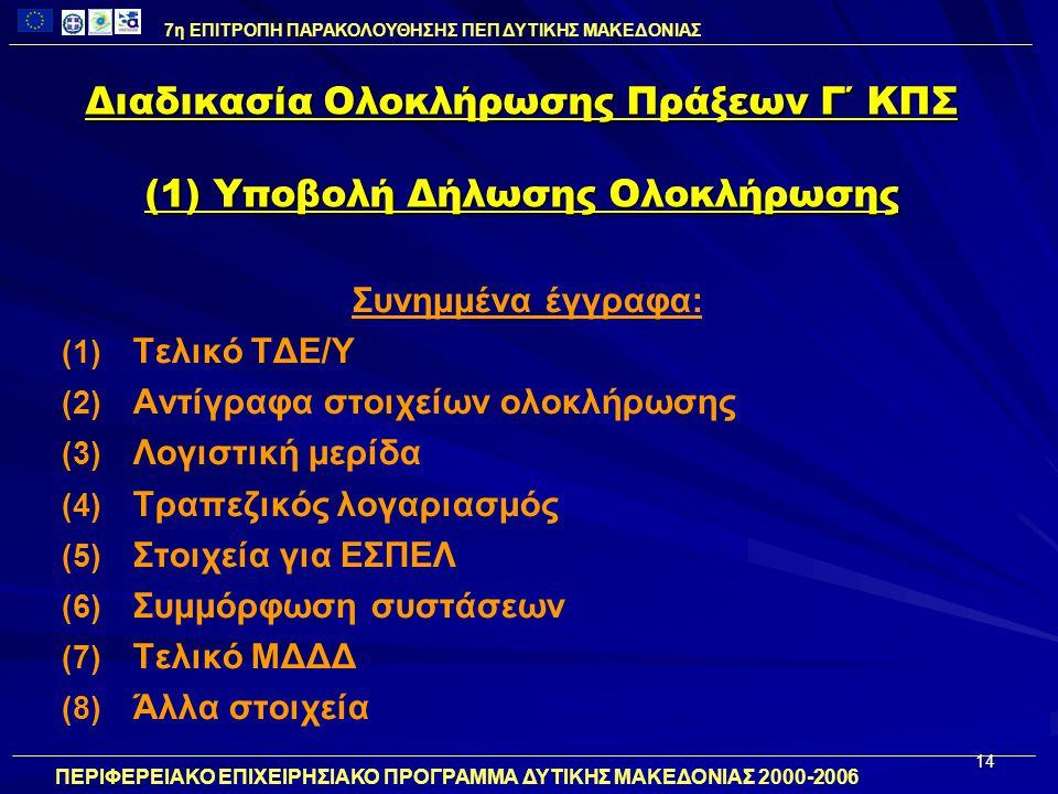 14 Διαδικασία Ολοκλήρωσης Πράξεων Γ΄ ΚΠΣ (1) Υποβολή Δήλωσης Ολοκλήρωσης Συνημμένα έγγραφα: (1) (1) Τελικό ΤΔΕ/Υ (2) (2) Αντίγραφα στοιχείων ολοκλήρωσης (3) (3) Λογιστική μερίδα (4) (4) Τραπεζικός λογαριασμός (5) (5) Στοιχεία για ΕΣΠΕΛ (6) (6) Συμμόρφωση συστάσεων (7) (7) Τελικό ΜΔΔΔ (8) (8) Άλλα στοιχεία 7η ΕΠΙΤΡΟΠΗ ΠΑΡΑΚΟΛΟΥΘΗΣΗΣ ΠΕΠ ΔΥΤΙΚΗΣ ΜΑΚΕΔΟΝΙΑΣ ΠΕΡΙΦΕΡΕΙΑΚΟ ΕΠΙΧΕΙΡΗΣΙΑΚΟ ΠΡΟΓΡΑΜΜΑ ΔΥΤΙΚΗΣ ΜΑΚΕΔΟΝΙΑΣ 2000-2006