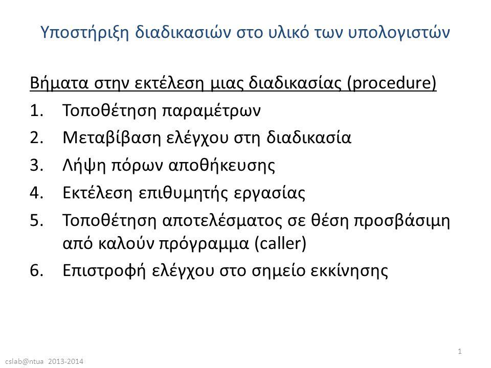 cslab@ntua 2013-2014 1 Βήματα στην εκτέλεση μιας διαδικασίας (procedure) 1.Τοποθέτηση παραμέτρων 2.Μεταβίβαση ελέγχου στη διαδικασία 3.Λήψη πόρων αποθήκευσης 4.Εκτέλεση επιθυμητής εργασίας 5.Τοποθέτηση αποτελέσματος σε θέση προσβάσιμη από καλούν πρόγραμμα (caller) 6.Επιστροφή ελέγχου στο σημείο εκκίνησης Υποστήριξη διαδικασιών στο υλικό των υπολογιστών