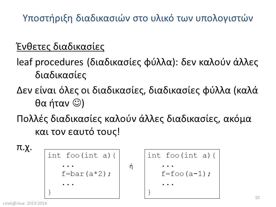 cslab@ntua 2013-2014 10 Ένθετες διαδικασίες leaf procedures (διαδικασίες φύλλα): δεν καλούν άλλες διαδικασίες Δεν είναι όλες οι διαδικασίες, διαδικασίες φύλλα (καλά θα ήταν  ) Πολλές διαδικασίες καλούν άλλες διαδικασίες, ακόμα και τον εαυτό τους.