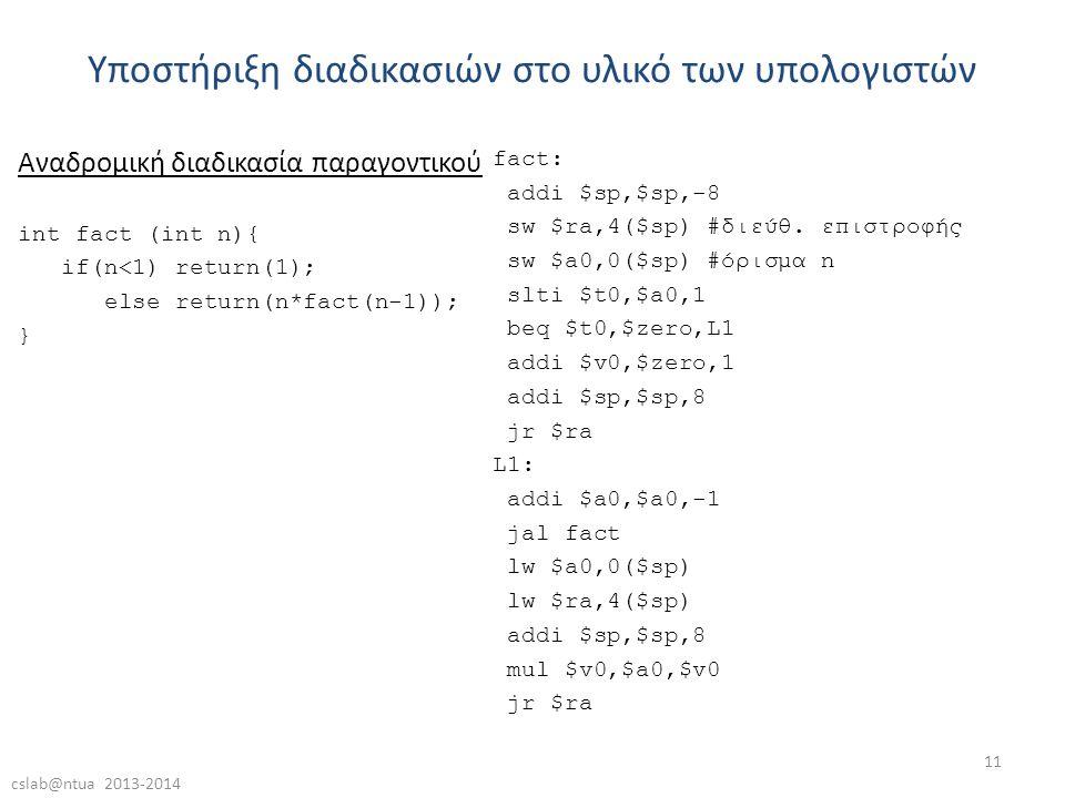 cslab@ntua 2013-2014 11 Υποστήριξη διαδικασιών στο υλικό των υπολογιστών fact: addi $sp,$sp,-8 sw $ra,4($sp) #διεύθ.