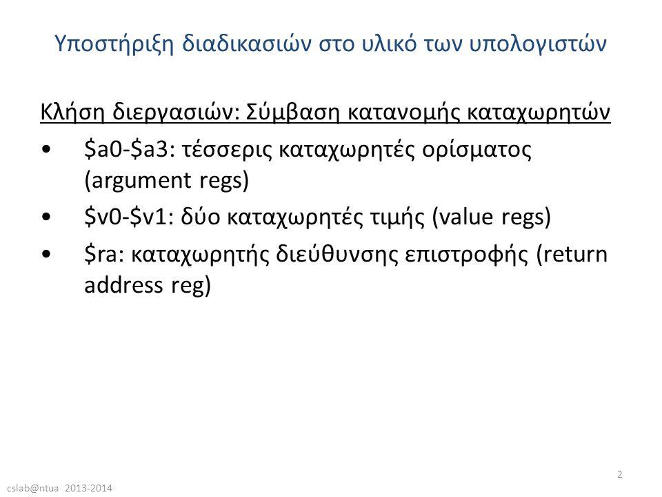 cslab@ntua 2013-2014 2 Κλήση διεργασιών: Σύμβαση κατανομής καταχωρητών •$a0-$a3: τέσσερις καταχωρητές ορίσματος (argument regs) •$v0-$v1: δύο καταχωρητές τιμής (value regs) •$ra: καταχωρητής διεύθυνσης επιστροφής (return address reg) Υποστήριξη διαδικασιών στο υλικό των υπολογιστών