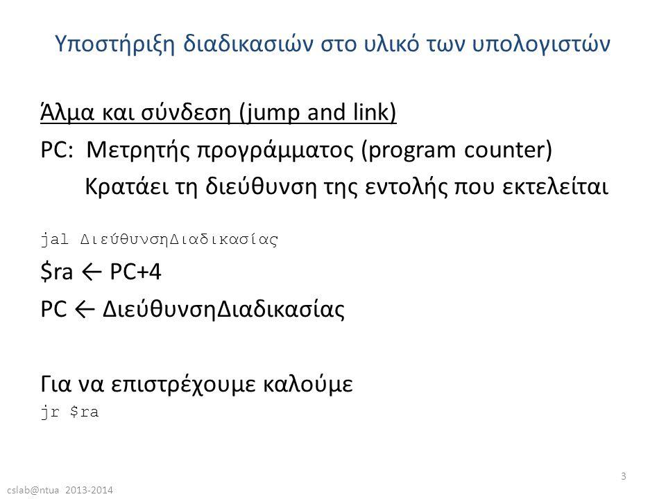 cslab@ntua 2013-2014 3 Άλμα και σύνδεση (jump and link) PC: Μετρητής προγράμματος (program counter) Κρατάει τη διεύθυνση της εντολής που εκτελείται jal ΔιεύθυνσηΔιαδικασίας $ra ← PC+4 PC ← ΔιεύθυνσηΔιαδικασίας Για να επιστρέχουμε καλούμε jr $ra Υποστήριξη διαδικασιών στο υλικό των υπολογιστών