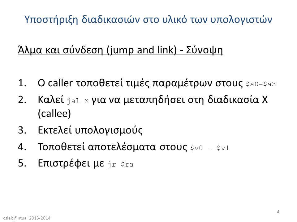 cslab@ntua 2013-2014 4 Άλμα και σύνδεση (jump and link) - Σύνοψη 1.Ο caller τοποθετεί τιμές παραμέτρων στους $a0-$a3 2.Καλεί jal X για να μεταπηδήσει στη διαδικασία X (callee) 3.Εκτελεί υπολογισμούς 4.Τοποθετεί αποτελέσματα στους $v0 - $v1 5.Επιστρέφει με jr $ra Υποστήριξη διαδικασιών στο υλικό των υπολογιστών