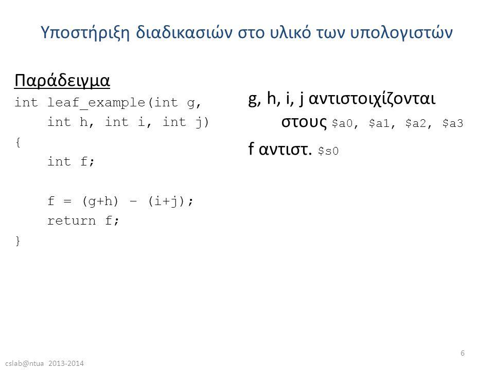 cslab@ntua 2013-2014 6 Παράδειγμα int leaf_example(int g, int h, int i, int j) { int f; f = (g+h) – (i+j); return f; } Υποστήριξη διαδικασιών στο υλικό των υπολογιστών g, h, i, j αντιστοιχίζονται στους $a0, $a1, $a2, $a3 f αντιστ.