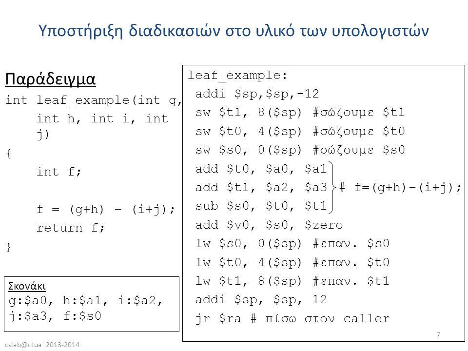 cslab@ntua 2013-2014 7 Παράδειγμα int leaf_example(int g, int h, int i, int j) { int f; f = (g+h) – (i+j); return f; } Υποστήριξη διαδικασιών στο υλικό των υπολογιστών leaf_example: addi $sp,$sp,-12 sw $t1, 8($sp) #σώζουμε $t1 sw $t0, 4($sp) #σώζουμε $t0 sw $s0, 0($sp) #σώζουμε $s0 add $t0, $a0, $a1 add $t1, $a2, $a3 sub $s0, $t0, $t1 add $v0, $s0, $zero lw $s0, 0($sp) #επαν.