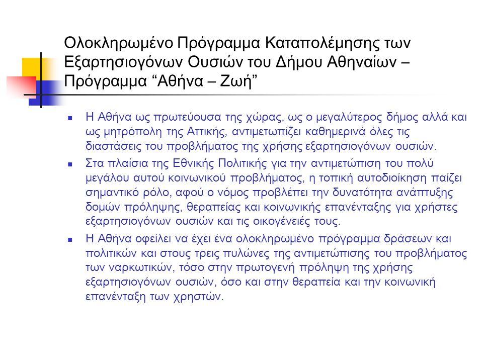 """Ολοκληρωμένο Πρόγραμμα Καταπολέμησης των Εξαρτησιογόνων Ουσιών του Δήμου Αθηναίων – Πρόγραμμα """"Αθήνα – Ζωή""""  Η Αθήνα ως πρωτεύουσα της χώρας, ως ο με"""