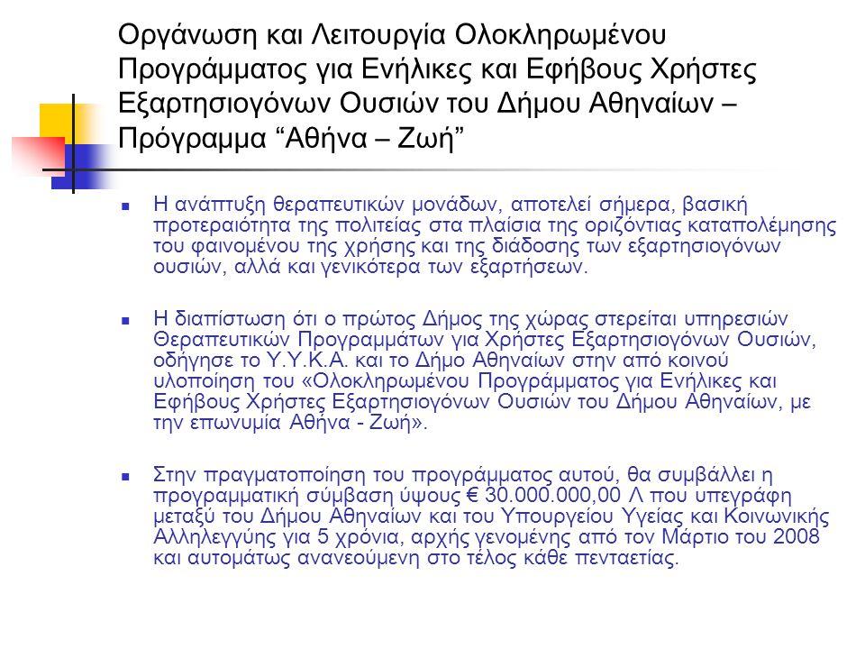 """Οργάνωση και Λειτουργία Ολοκληρωμένου Προγράμματος για Ενήλικες και Εφήβους Χρήστες Εξαρτησιογόνων Ουσιών του Δήμου Αθηναίων – Πρόγραμμα """"Αθήνα – Ζωή"""""""