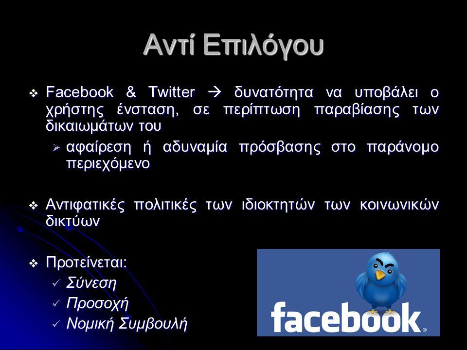 Αντί Επιλόγου  Facebook & Twitter  δυνατότητα να υποβάλει ο χρήστης ένσταση, σε περίπτωση παραβίασης των δικαιωμάτων του  αφαίρεση ή αδυναμία πρόσβασης στο παράνομο περιεχόμενο  Αντιφατικές πολιτικές των ιδιοκτητών των κοινωνικών δικτύων  Προτείνεται:  Σύνεση  Προσοχή  Νομική Συμβουλή