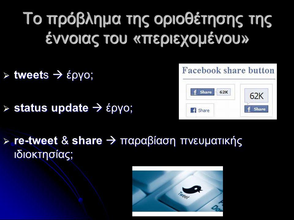 Το πρόβλημα της οριοθέτησης της έννοιας του «περιεχομένου»  tweets  έργο;  status update  έργο;  re-tweet & share  παραβίαση πνευματικής ιδιοκτησίας;