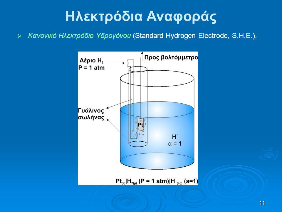 11 Ηλεκτρόδια Αναφοράς   Κανονικό Ηλεκτρόδιο Υδρογόνου (Standard Hydrogen Electrode, S.H.E.).