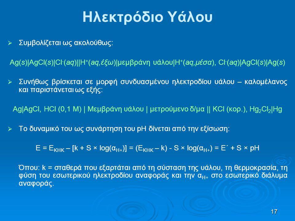 17   Συμβολίζεται ως ακολούθως: Ag(s)|AgCl(s)|Cl - (aq)||H + (aq,έξω)|μεμβράνη υάλου|Η + (aq,μέσα), Cl - (aq)|AgCl(s)|Ag(s)   Συνήθως βρίσκεται σε
