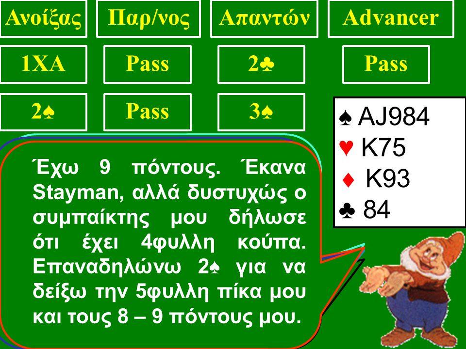 ♠ ΑJ984 ♥ 1075  K93 ♣ 84 ΑνοίξαςΠαρ/νοςΑπαντώνAdvancer 1XAPass2♣2♣ 2♥2♥2♦2♦2♠2♠ 2♠2♠3♠3♠2♠2♠ ♠ ΑJ984 ♥ Κ75  K93 ♣ 84 3♠3♠ ♠ ΑJ984 ♥ Κ75  K93 ♣ 84 4♠4♠ ♠ ΑJ984 ♥ Κ75  K93 ♣ 84 3♠ Έχω 12 πόντους.