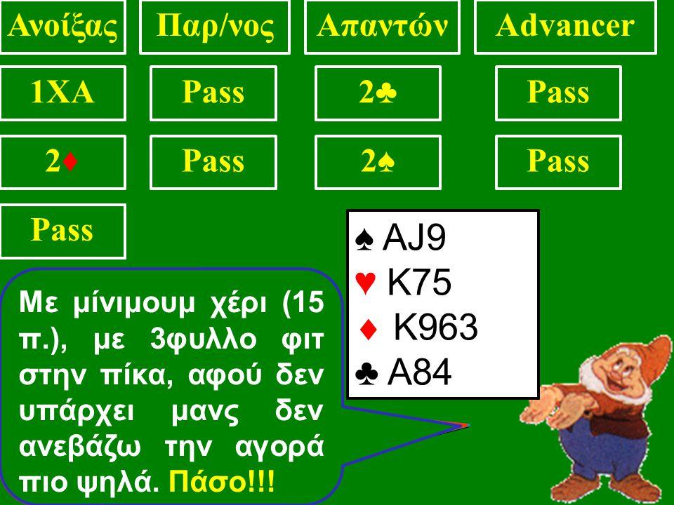 ♠ KQ7 ♥ 75  AK93 ♣ AJ84 ΑνοίξαςΠαρ/νοςΑπαντώνAdvancer 1XAPass2♣2♣ .