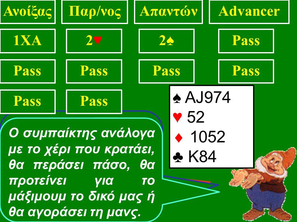 ♠ KQ72 ♥ 1075  A93 ♣ J84 ΑνοίξαςΠαρ/νοςΑπαντώνAdvancer 1XAPass2♣2♣ ♠ Q4 ♥ Κ752  AK9 ♣ AJ84 ♠ 74 ♥ Κ9752  93 ♣ ΑΚJ7 ♠ ΑJ974 ♥ 52  1052 ♣ Κ84 Με 10 π.