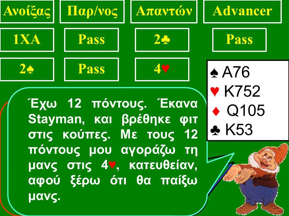 ♠ Α76 ♥ 9752  Q105 ♣ Κ53 ΑνοίξαςΠαρ/νοςΑπαντώνAdvancer 1XAPass2♣2♣ 2♥2♥ Έχω 9 πόντους.