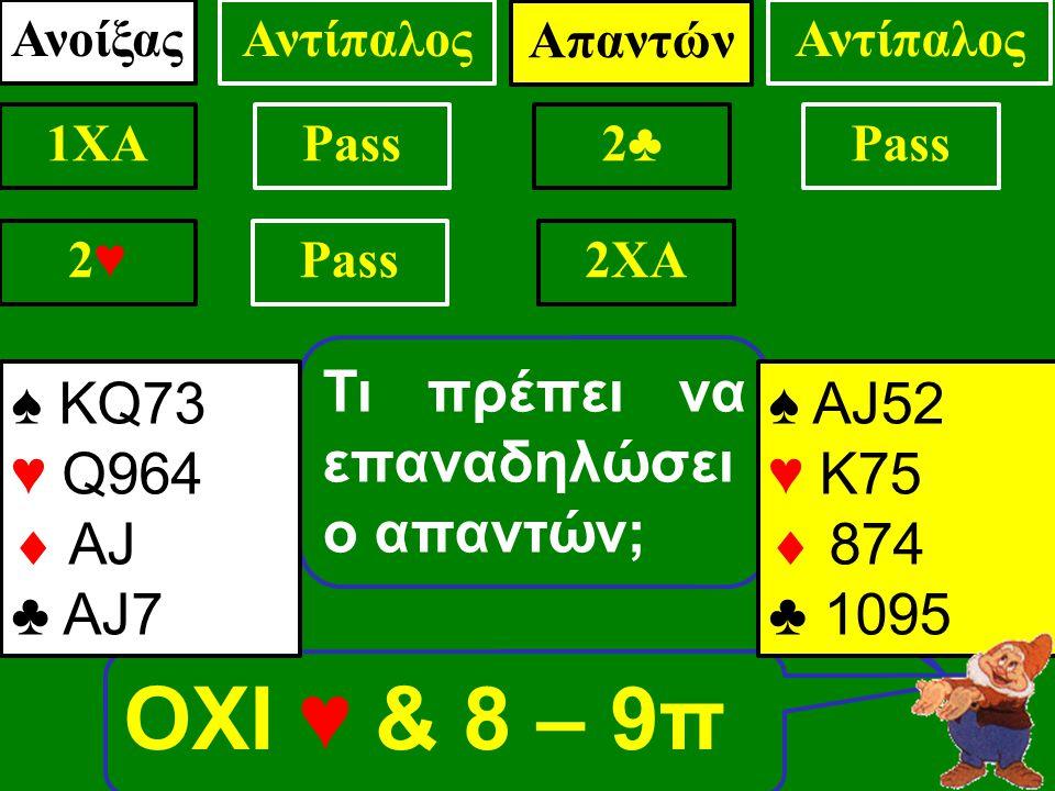 ΟΧΙ ♥ & 8 – 9π Τι πρέπει να επαναδηλώσει ο απαντών; ♠ ΑJ52 ♥ Κ75  874 ♣ 1095 ΑνοίξαςΑντίπαλος 1XAPass .