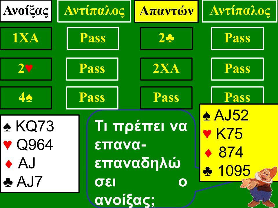 Pass Τι πρέπει να επανα- επαναδηλώ σει ο ανοίξας; ♠ ΑJ52 ♥ Κ75  874 ♣ 1095 ΑνοίξαςΑντίπαλος 1XAPass .