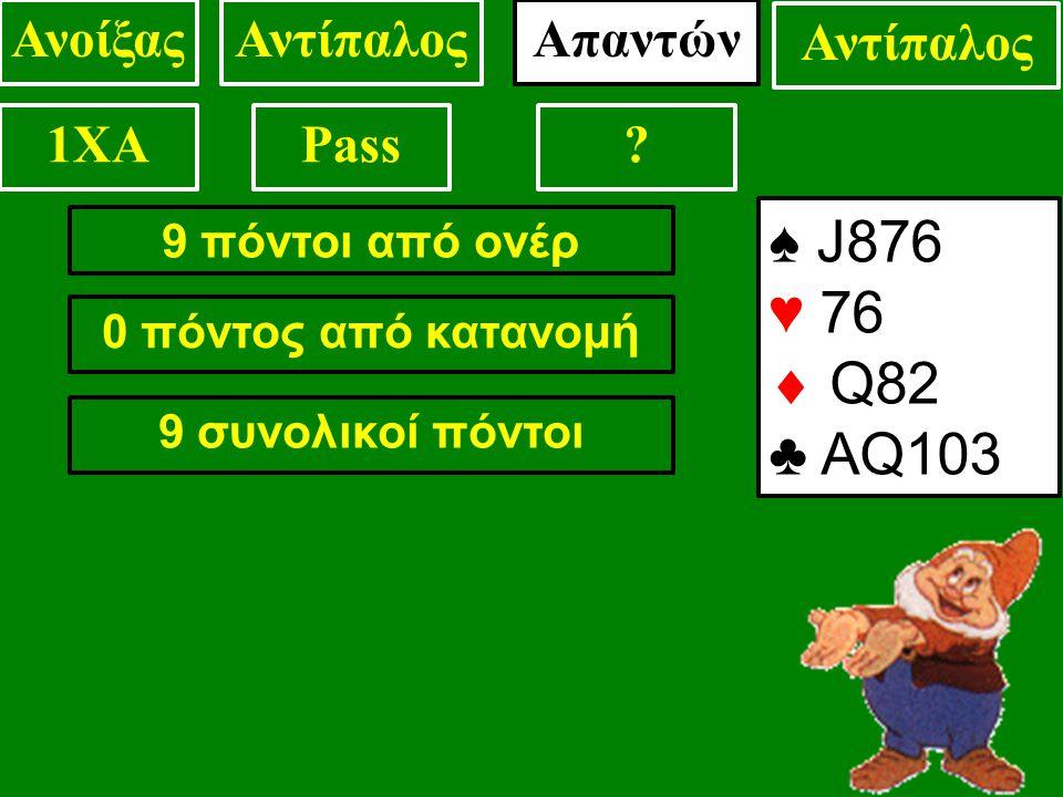 9 πόντοι από ονέρ 0 πόντος από κατανομή 9 συνολικοί πόντοι ♠ J876 ♥ 76  Q82 ♣ AQ103 ΑνοίξαςΑντίπαλος 1XAPass.
