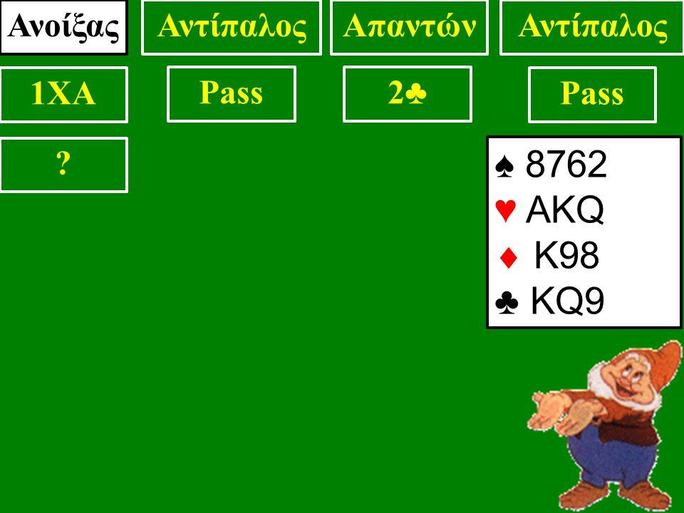 ♠ 8762 ♥ AKQ  Κ98 ♣ KQ9 ΑνοίξαςΑντίπαλοςΑπαντώνΑντίπαλος 1XA Pass2♣2♣ ?