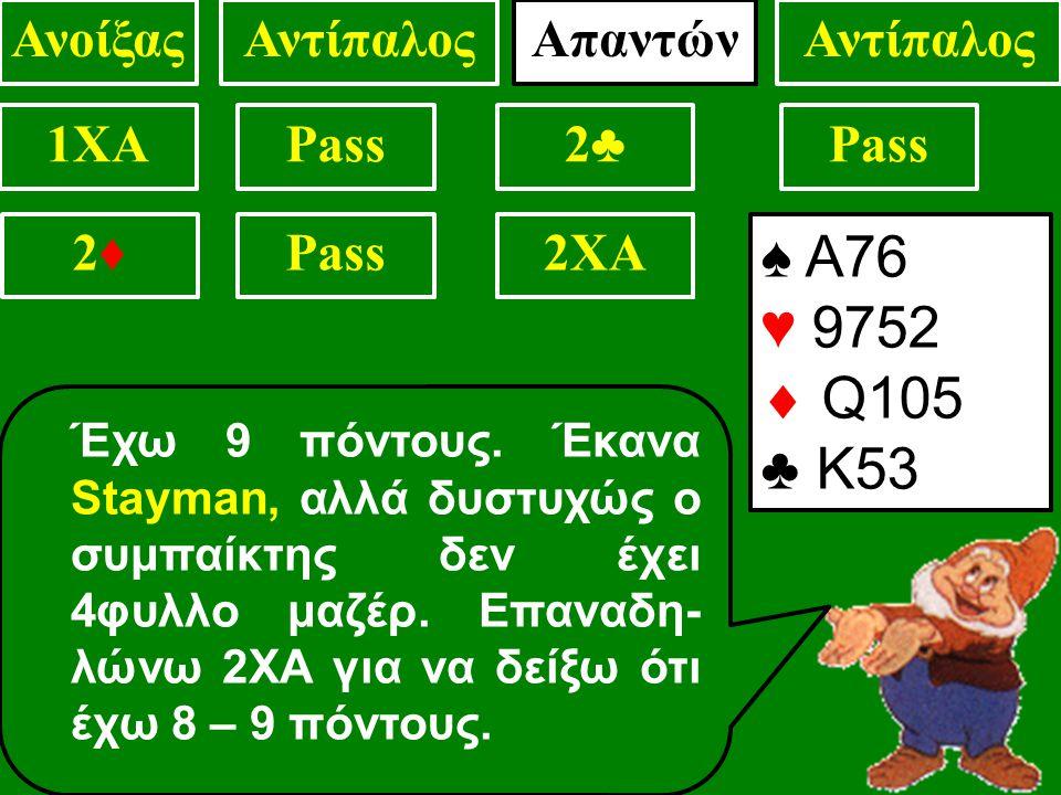 ♠ Α76 ♥ 9752  Q105 ♣ Κ53 1XAPass2♣2♣ . Έχω 9 πόντους.