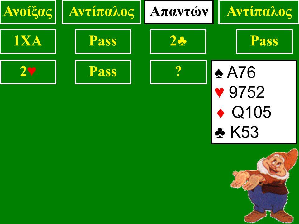 ♠ Α76 ♥ 9752  Q105 ♣ Κ53 1XAPass2♣2♣ ? 2♥2♥ ΑνοίξαςΑντίπαλος Απαντών