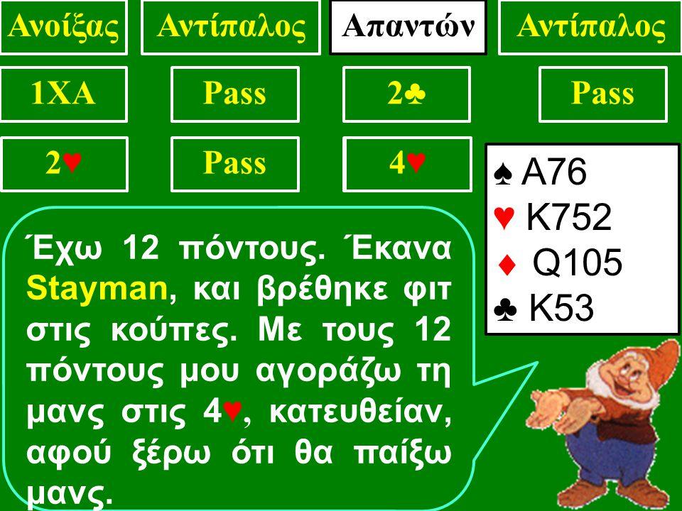 1XAPass2♣2♣ . 2♥2♥ 4♥4♥ ΑνοίξαςΑντίπαλος ♠ Α76 ♥ Κ752  Q105 ♣ Κ53 Έχω 12 πόντους.