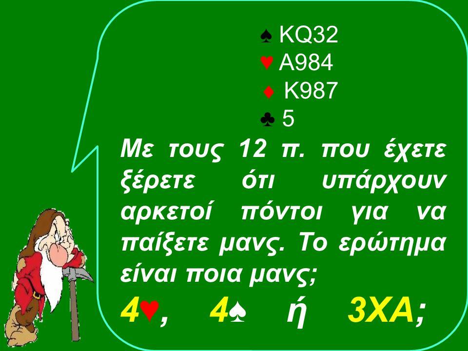 1XAPass2♣2♣ .2♥2♥ 4♥4♥ ΑνοίξαςΑντίπαλος ♠ Α76 ♥ Κ752  Q105 ♣ Κ53 Έχω 12 πόντους.