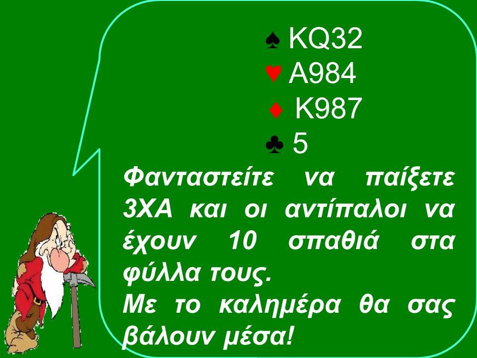 ♠ KQ32 ♥ Α984  Κ987 ♣ 5 Φανταστείτε να παίξετε 3ΧΑ και οι αντίπαλοι να έχουν 10 σπαθιά στα φύλλα τους.