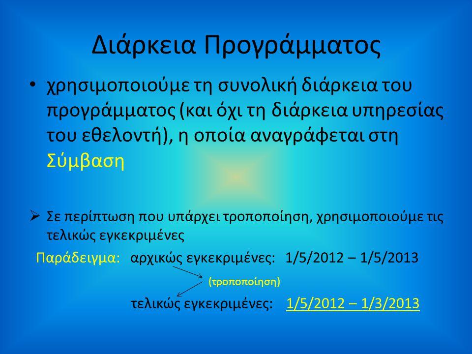 Διάρκεια Προγράμματος • χρησιμοποιούμε τη συνολική διάρκεια του προγράμματος (και όχι τη διάρκεια υπηρεσίας του εθελοντή), η οποία αναγράφεται στη Σύμβαση  Σε περίπτωση που υπάρχει τροποποίηση, χρησιμοποιούμε τις τελικώς εγκεκριμένες Παράδειγμα: αρχικώς εγκεκριμένες: 1/5/2012 – 1/5/2013 (τροποποίηση) τελικώς εγκεκριμένες: 1/5/2012 – 1/3/2013