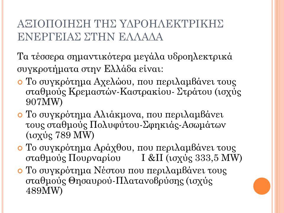 ΑΞΙΟΠΟΙΗΣΗ ΤΗΣ ΥΔΡΟΗΛΕΚΤΡΙΚΗΣ ΕΝΕΡΓΕΙΑΣ ΣΤΗΝ ΕΛΛΑΔΑ Τα τέσσερα σημαντικότερα μεγάλα υδροηλεκτρικά συγκροτήματα στην Ελλάδα είναι: Το συγκρότημα Αχελώο