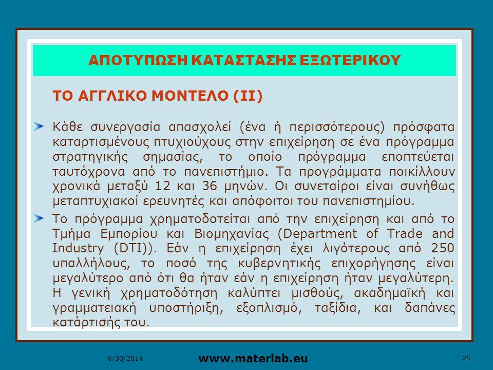 25 www.materlab.eu 6/30/2014 ΑΠΟΤΥΠΩΣΗ ΚΑΤΑΣΤΑΣΗΣ ΕΞΩΤΕΡΙΚΟΥ ΤΟ ΑΓΓΛΙΚΟ ΜΟΝΤΕΛΟ (ΙΙ) Κάθε συνεργασία απασχολεί (ένα ή περισσότερους) πρόσφατα καταρτισμένους πτυχιούχους στην επιχείρηση σε ένα πρόγραμμα στρατηγικής σημασίας, το οποίο πρόγραμμα εποπτεύεται ταυτόχρονα από το πανεπιστήμιο.