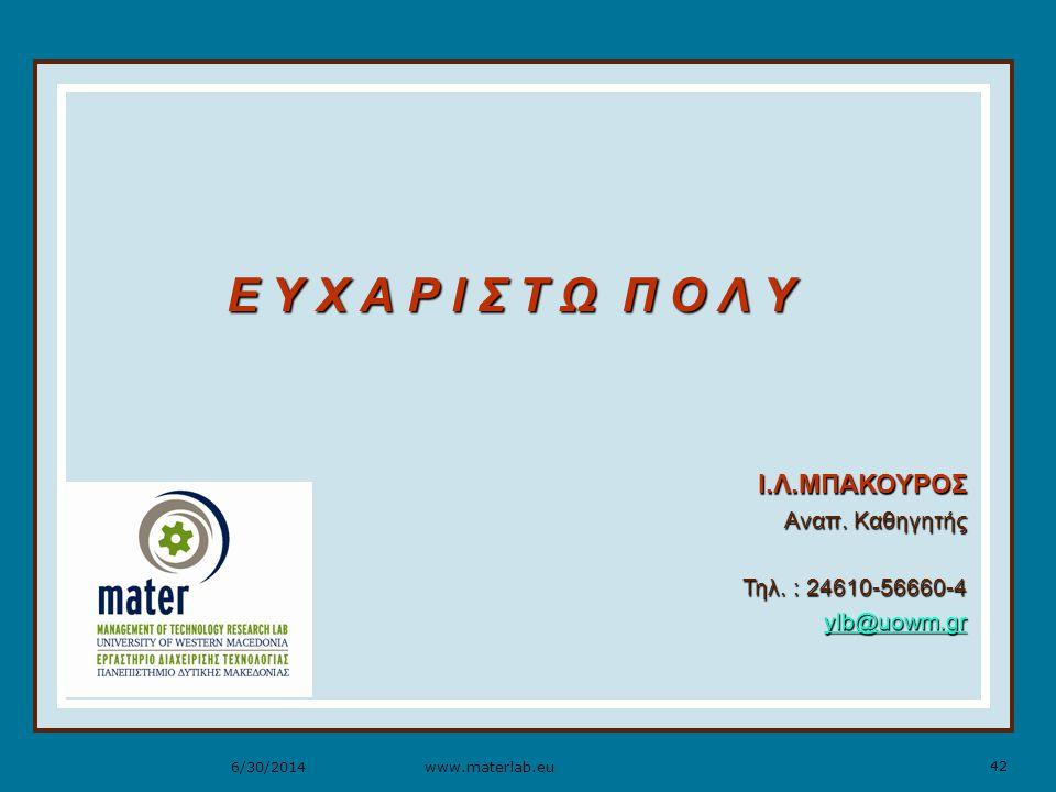 42 www.materlab.eu6/30/2014 Ε Υ Χ Α Ρ Ι Σ Τ Ω Π Ο Λ Υ Ι.Λ.ΜΠΑΚΟΥΡΟΣ Αναπ.