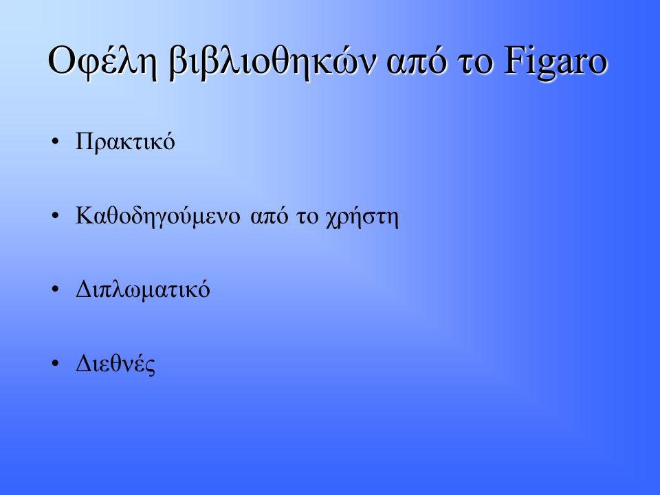 Οφέλη βιβλιοθηκών από το Figaro •Πρακτικό •Καθοδηγούμενο από το χρήστη •Διπλωματικό •Διεθνές