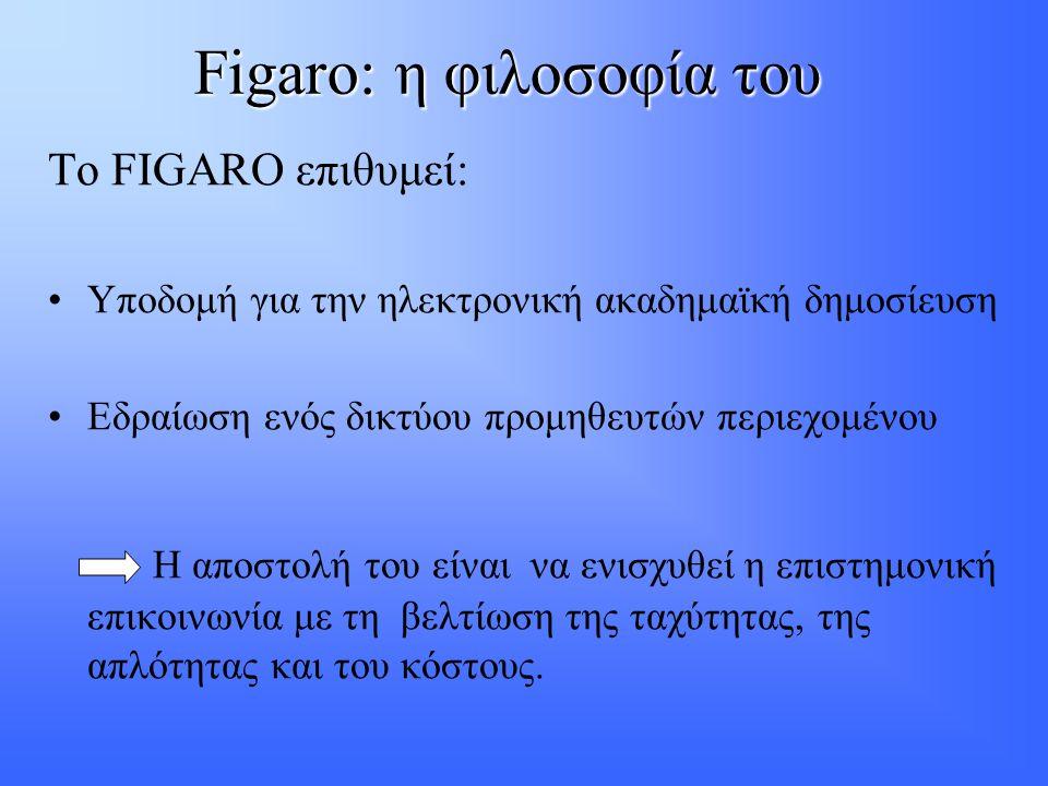 Figaro: η φιλοσοφία του Το FIGARO επιθυμεί: •Υποδομή για την ηλεκτρονική ακαδημαϊκή δημοσίευση •Εδραίωση ενός δικτύου προμηθευτών περιεχομένου Η αποστολή του είναι να ενισχυθεί η επιστημονική επικοινωνία με τη βελτίωση της ταχύτητας, της απλότητας και του κόστους.